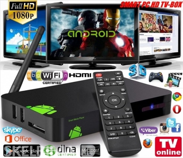 Full HD Smart Pc TV-Box-Virs 2000 TV kanalų Nemokamai +LT TV Kanalai